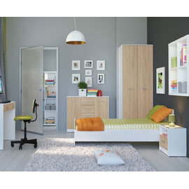 WARDROBE​ NEPO PLUS SZF2D BRW, Choose a color: white / Sonoma oak, 2 image