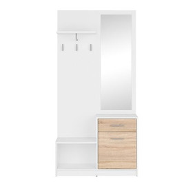 HALL NEPO PLUS PPK BRW, Choose a color: white / Sonoma oak